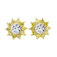 2 Carat White Diamonds/F1 Moissanite & Yellow Diamond Stud Earrings on 14k White/Yellow Gold, 1.00 Carat Each Stud - 2WYD/MSE