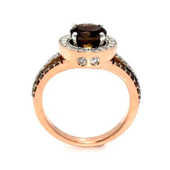 1 Carat Fancy Brown Diamond Engagement Ring, Floating Halo Rose Gold, White & Fancy Color Brown Diamonds, Anniversary Ring - BD94627ER
