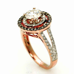 Double Halo Rose Gold, 1 Carat Forever Brilliant Moissanite Engagement Ring With .62 Carat Of White & Brown Diamonds, Split Shank - FB94640