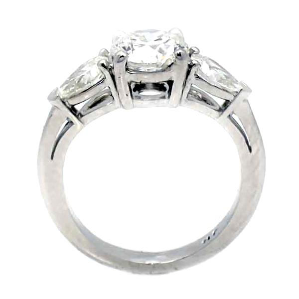 1 Carat Round Cut Forever One Moissanite Engagement Ring With 2 Pear Shaped NEO Moissanites On The Sides - F1JRPS3SR