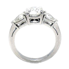 1 Carat Round Cut Forever One Moissanite Engagement Ring With 2 Pear Shaped NEO Moissanites On The Sides - F1PS3SR