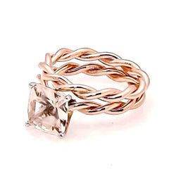 Unique Hand Twisted Cable Rope Morganite Engagement Ring and Wedding Band Set with 1.75 Carat 8x8 mm Cushion Cut Morganite 14k Rose Gold, 14k Yellow Gold, 14k White Gold, Stacking Ring, Wedding Set - MG8ROP25