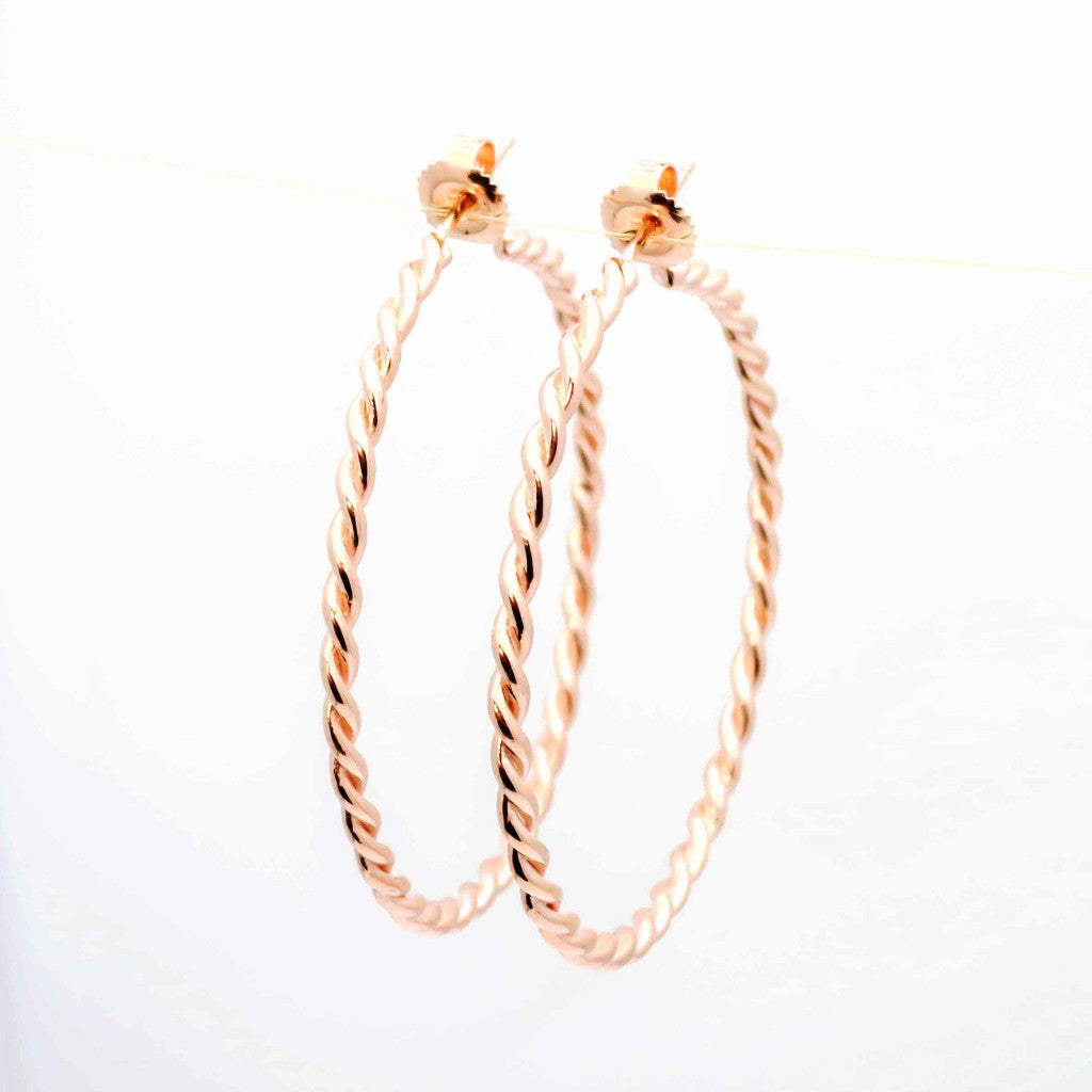 14k Gold Twisted Rope Hoop Earrings, Cable Hoop Earrings - ROPE15