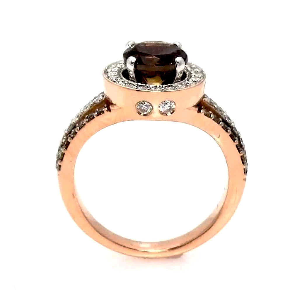 1 Carat Fancy Brown Diamond Engagement / wedding set, Floating Halo Rose Gold, White & Fancy Color Brown Diamonds, Anniversary Ring - BD94627
