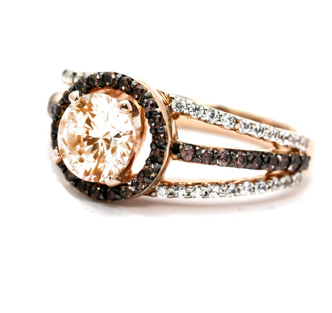 Floating Halo Rose Gold, White & Fancy Color Brown Diamonds,6.5 mm Morganite, Engagement Ring, Anniversary Ring - MG94617