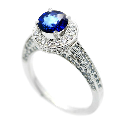 1.4 Carat Blue Sapphire Gemstone, .75 Carat Diamonds Accent Stones, Unique Halo Engagement Ring, Anniversary Ring - SP73045