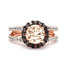 Floating Halo Rose Gold Split Shank 1 Morganite Engagement Ring, With 1.03 Carat White And Brown Diamonds, Anniversary Ring - MG94625