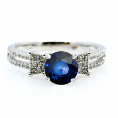 Unique Solitaire Blue Sapphire Gemstone Engagement Ring with 1.4 Carat Sapphire & .25 Carat Diamonds - SP85043