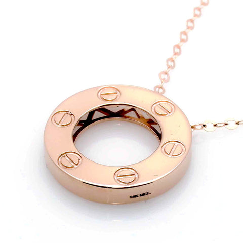 14k Gold 20 mm Circle Pendant - CP001
