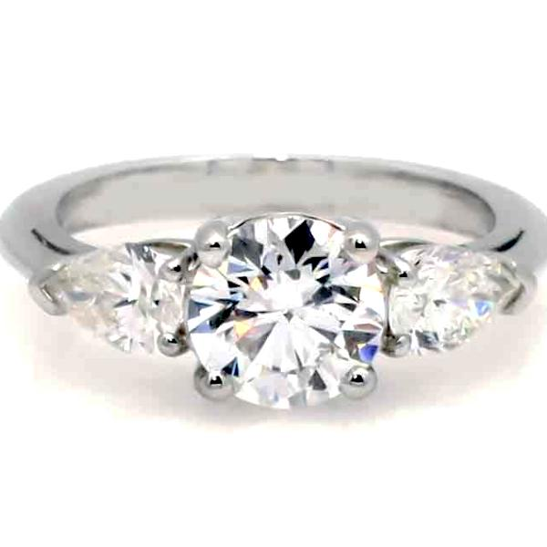1 Carat Round Cut Forever One Moissanite Engagement Ring