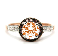 Morganite Engagement Ring, Unique 1 Carat Floating Halo Rose Gold, White & Chocolate Brown Diamonds, Anniversary Ring - MG94641ER