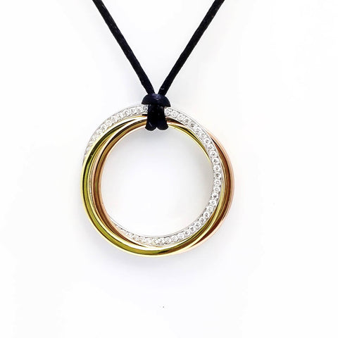 "14k Gold 32"" In Diameter 3 Circles 3 Colors Diamond Pendant"
