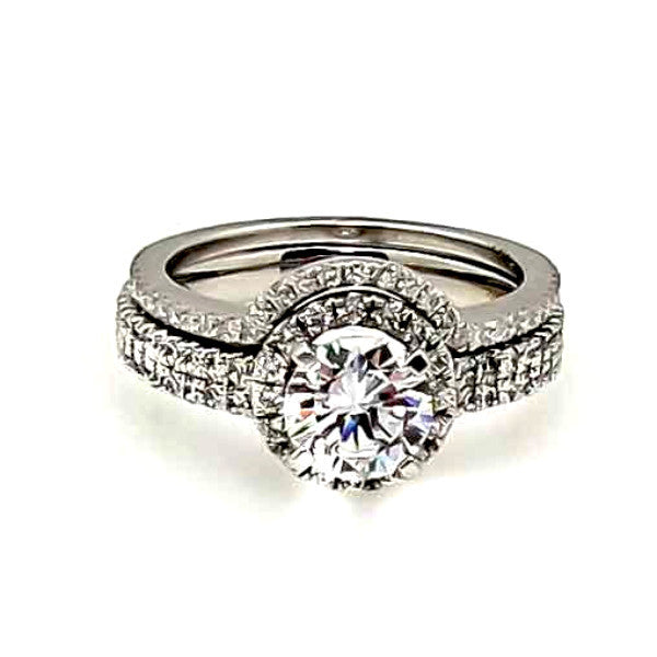 Floating Halo Double Shank Engagement / Wedding Set, 1 Carat Forever One Moissanite & .75 Carat Diamond - FB85034