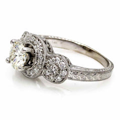 Triple Halo 1 Carat Moissanite Engagement Ring, With .50 Carat Diamonds, Anniversary Ring - FB85024