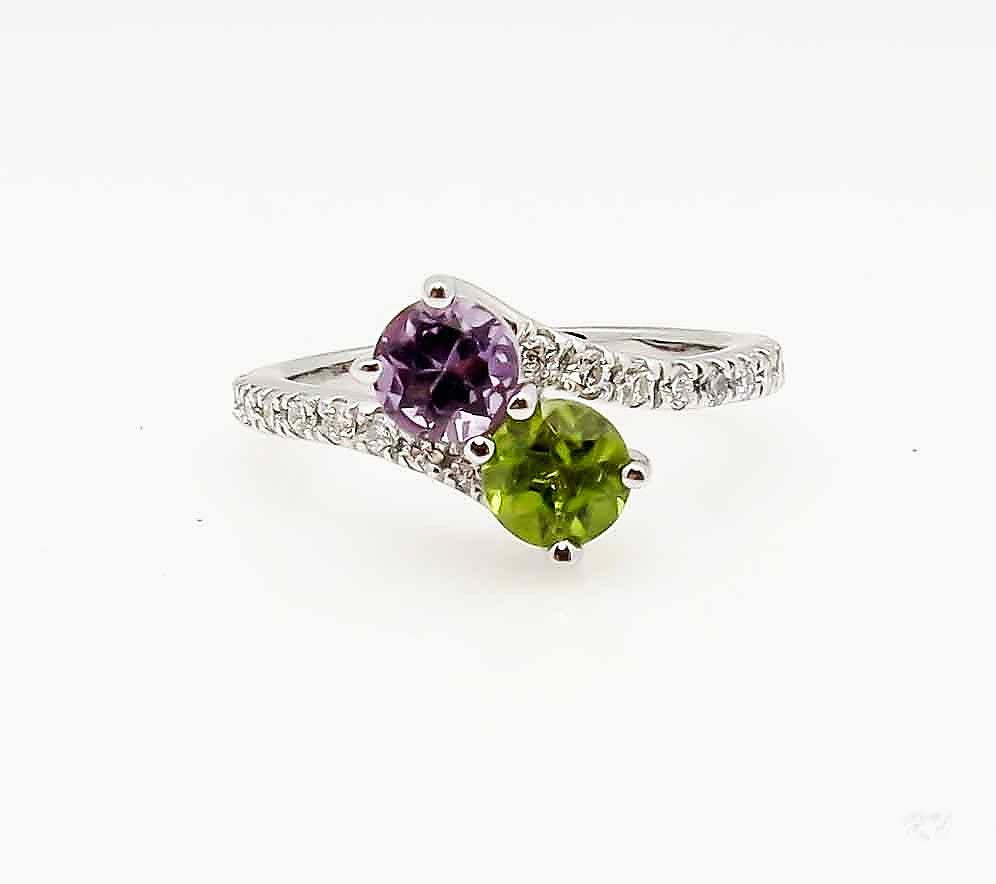 Two Stone Ring With  5 mm (0.5 carat) Amethyst And 5 mm (0.5 carat) Peridot Gemstones With 0.30 Carats Of Diamonds - UBS4984E