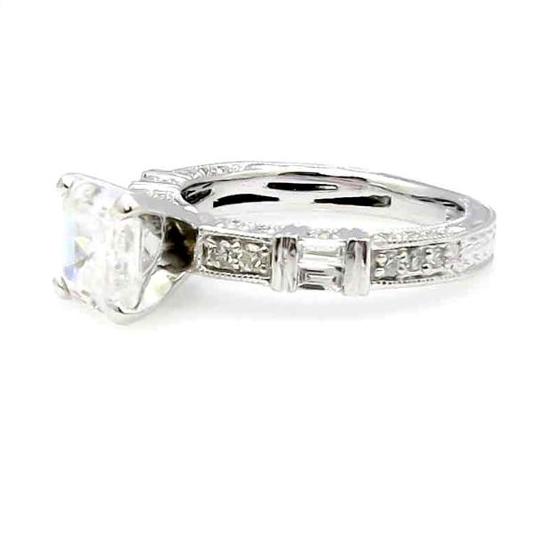 Art Deco Diamond Engagement Ring, With 6.5x6.5 mm 1.5 Carat Asscher Cut Forever One Moissanite Center Stone - F1AS73109ER