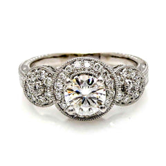 Triple Halo Diamond Engagement 1 Carat Stone Ring Setting, Anniversary Ring Setting, Semi Mount - 85024