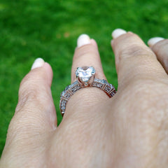 Art Deco Diamond Engagement Ring, With 1 Carat Forever Brilliant Moissanite Center Stone - FB73109ER