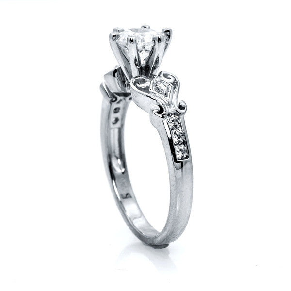 Art Deco Moissanite Engagement Ring, Unique Solitaire 1 Carat Forever Brilliant Moissanite Center Stone & .26 Carat Diamonds, Anniversary Ring - FBY11359