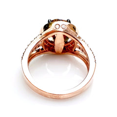 Unique 2 Carat (8 mm) Brown Diamond Engagement Ring, Floating Halo Rose Gold, White & Chocolate Color Brown Diamonds, Anniversary Ring - 2BD94627