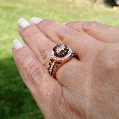 Unique 2 Carat (8 mm) Chocolate Brown Smoky Quartz Engagement Ring, Floating Halo Rose Gold, White & Chocolate Color Brown Diamonds, Anniversary Ring - 2SQ94627