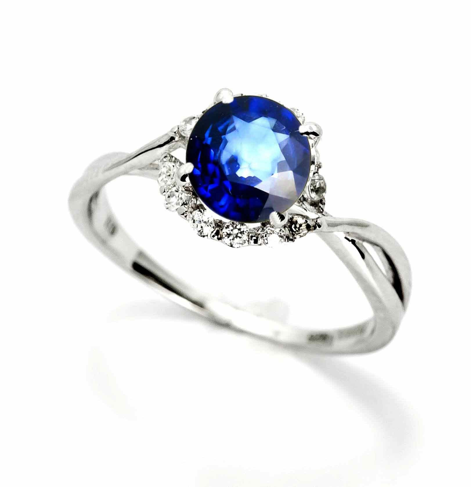 Blue Sapphire Gemstone Engagement Ring, Unique Halo Design With 1.4 Carat (7 mm) Blue Sapphire & .17 Carat Diamonds, Anniversary Ring - SPY11657