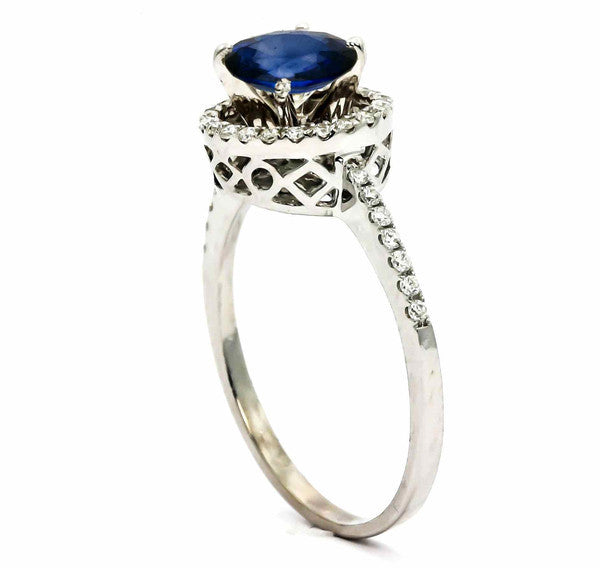 Blue Sapphire Gemstone Engagement Ring With 1 Carat Sapphire & .20 Carat Diamonds, Anniversary Ring - SP85037