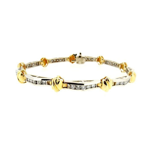 Two-Toned Gold & Diamond Bracelet, Tennis Bracelet