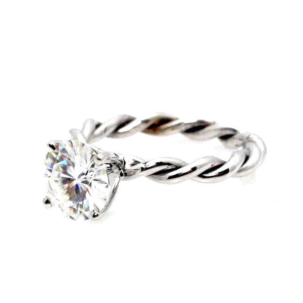 Unique Hand Twisted Cable Rope Diamond Engagement Ring and with 1 Carat Diamond 14k Rose Gold, 14k Yellow Gold, 14k White Gold - WDROP25ER
