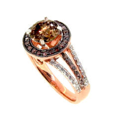 1 Carat Fancy Brown Diamond Engagement Ring, Floating Halo Rose Gold, White & Fancy Color Brown Diamonds, Anniversary Ring - BD94657