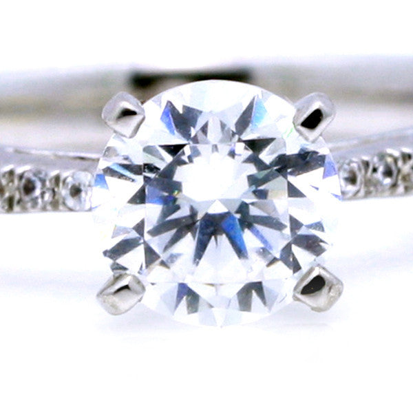 Classic Solitaire Engagement Ring,  With 1 Carat Forever One/Brilliant Moissanite & .25 Carat Diamonds, Anniversary Ring - FB64113