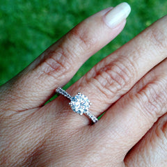 Classic Solitaire Engagement Ring,  With 1 Carat Forever One Moissanite & .25 Carat Diamonds, Anniversary Ring - FB64113