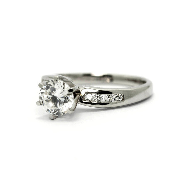 Classic Twisted Shank Solitaire Engagement Ring,  With 1 Carat Forever One / Brilliant Moissanite & .25 Carat Diamonds, Anniversary Ring - FBY11239