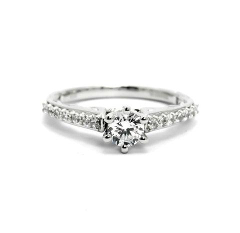 "Diamond Engagement Ring With 1.00 Carat  ""Forever One"" Moissanite and .32 Carats Diamonds,  Anniversary Ring - FBY11667SE"