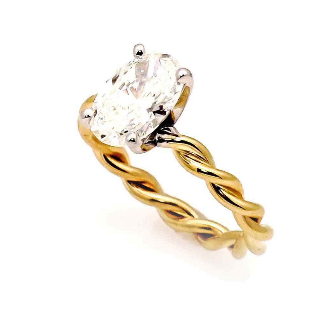 Unique 2 Tone Hand Twisted Cable Rope Engagement Ring With 2 Carat Oval Shaped Forever One Moissanite,14k Rose And White/Yellow And White Gold - FB2O2TROP25ER