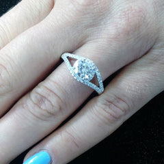 Unique Semi Mount For 1 Carat Center Stone Floating Halo Engagement Ring With .25 Carat White Diamonds, Split Shank - 85028ER