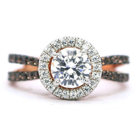 Floating Halo Engagement Ring, Rose Gold, 1 Carat Forever Brilliant Moissanite Center Stone, White & Chocolate Brown Diamond Accent Stones,Anniversary - FB94626