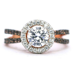 Floating Halo Engagement Ring, Rose Gold, 1 Carat Forever Brilliant Moissanite Center Stone, White & Fancy Brown Diamond Accent Stones,Anniversary - FB94626
