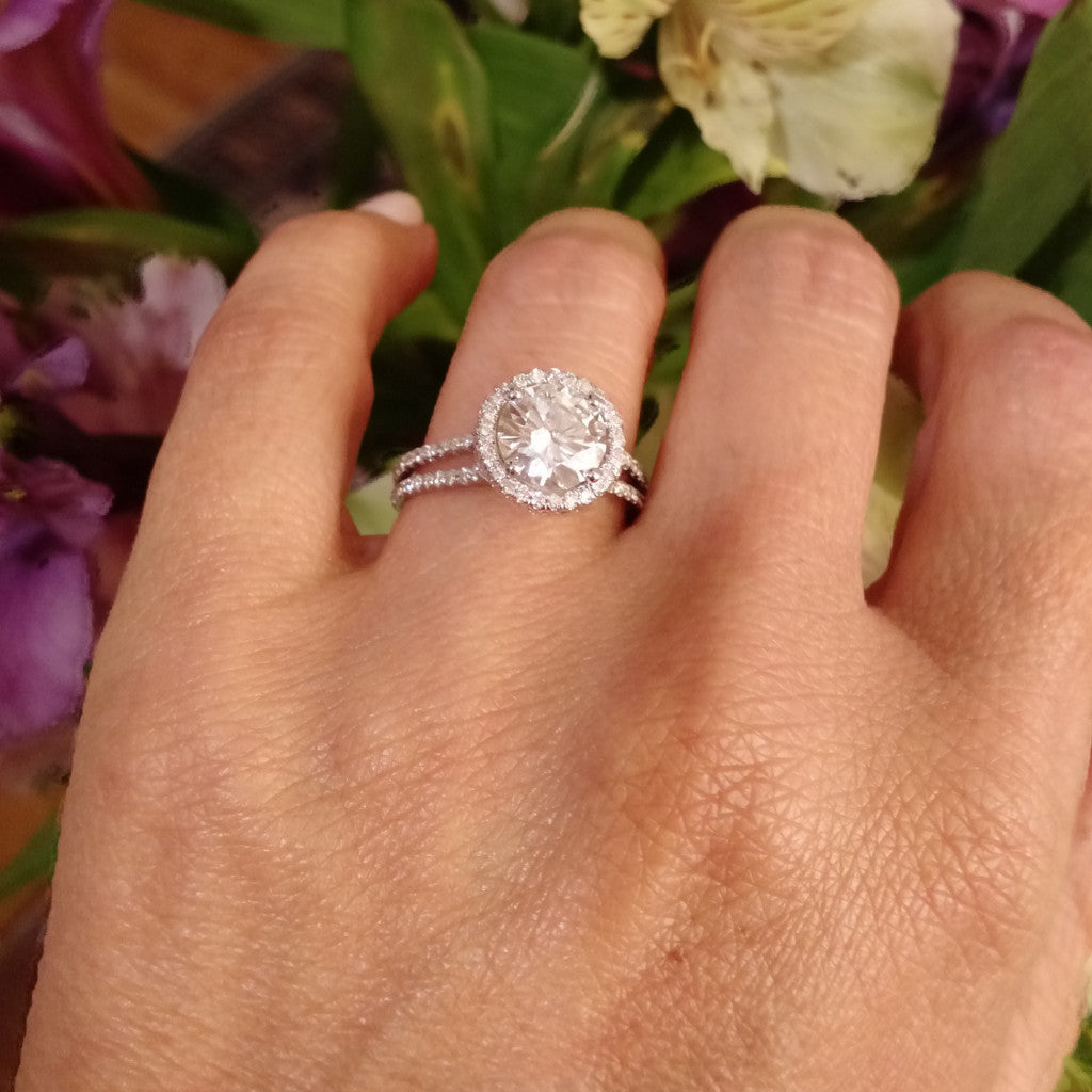 Moissanite Engagement Ring, With Unique 2 Carat Floating Halo Forever One Moissanite & .61 Carat Diamond, Double Shank, Anniversary - FOR001