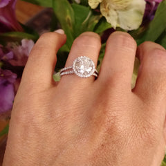 Moissanite Engagement Ring, With Unique 1.5 Carat Floating Halo Forever One Moissanite & .61 Carat Diamond, Double Shank, Anniversary - FOR001