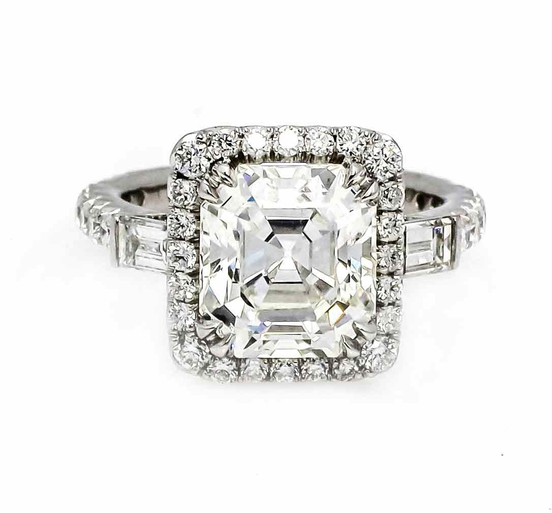 3 Carat Forever One Asher Cut Moissanite & .70 Carat Diamonds, Unique Design Engagement Ring, Anniversary Ring - FBVDIACR
