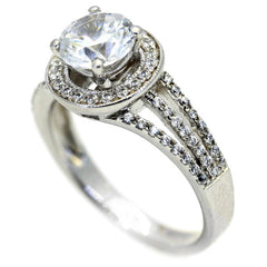 Floating Halo Triple Shank Engagement Ring, 1 Carat Forever Brilliant Moissanite Center Stone & .40 Carat Diamond, Anniversary Ring - FB73087