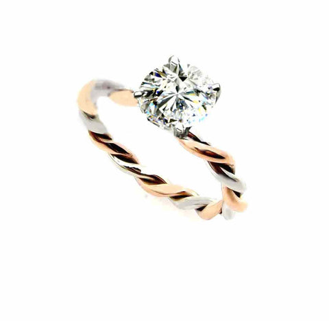 Unique 2 Tone Hand Twisted Cable Rope Engagement Ring and with 1 Carat Forever One Moissanite,14k Rose And White Gold Stacking Ring - FB2TROP25ER