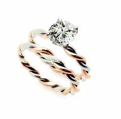 Unique 2 Tone Hand Twisted Cable Rope Engagement Ring and with 2 Carat Forever Brilliant / Forever One Moissanite,14k Rose And White Gold Stacking Ring - FB22TROP25ER