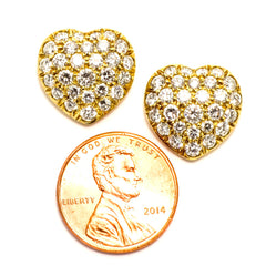 18k Yellow Gold Heart Diamond Earrings