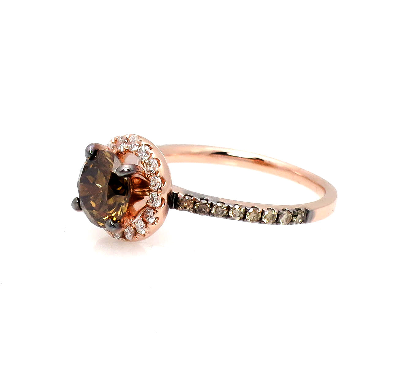 1 Carat Fancy Brown Diamond Halo, White Diamond Accent Stones, Rose Gold, Engagement Ring, Anniversary Ring - BD94639A