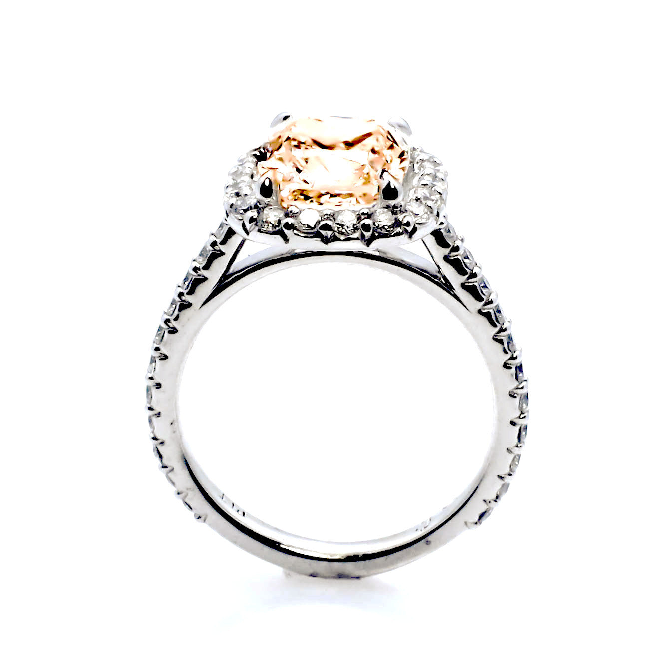 2 Carat Cushion Cut Halo Morganite And Diamond Engagement Ring, Anniversary Ring - MGV2HER