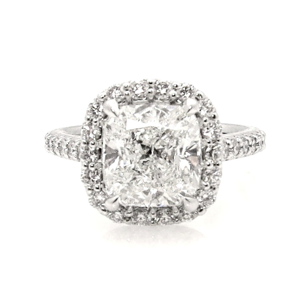 3 Carat Cushion Cut Forever One Moissanite Halo Engagement Ring, Unique Square Halo 1 Row Shank .65 Carat Diamonds - FBV3HER