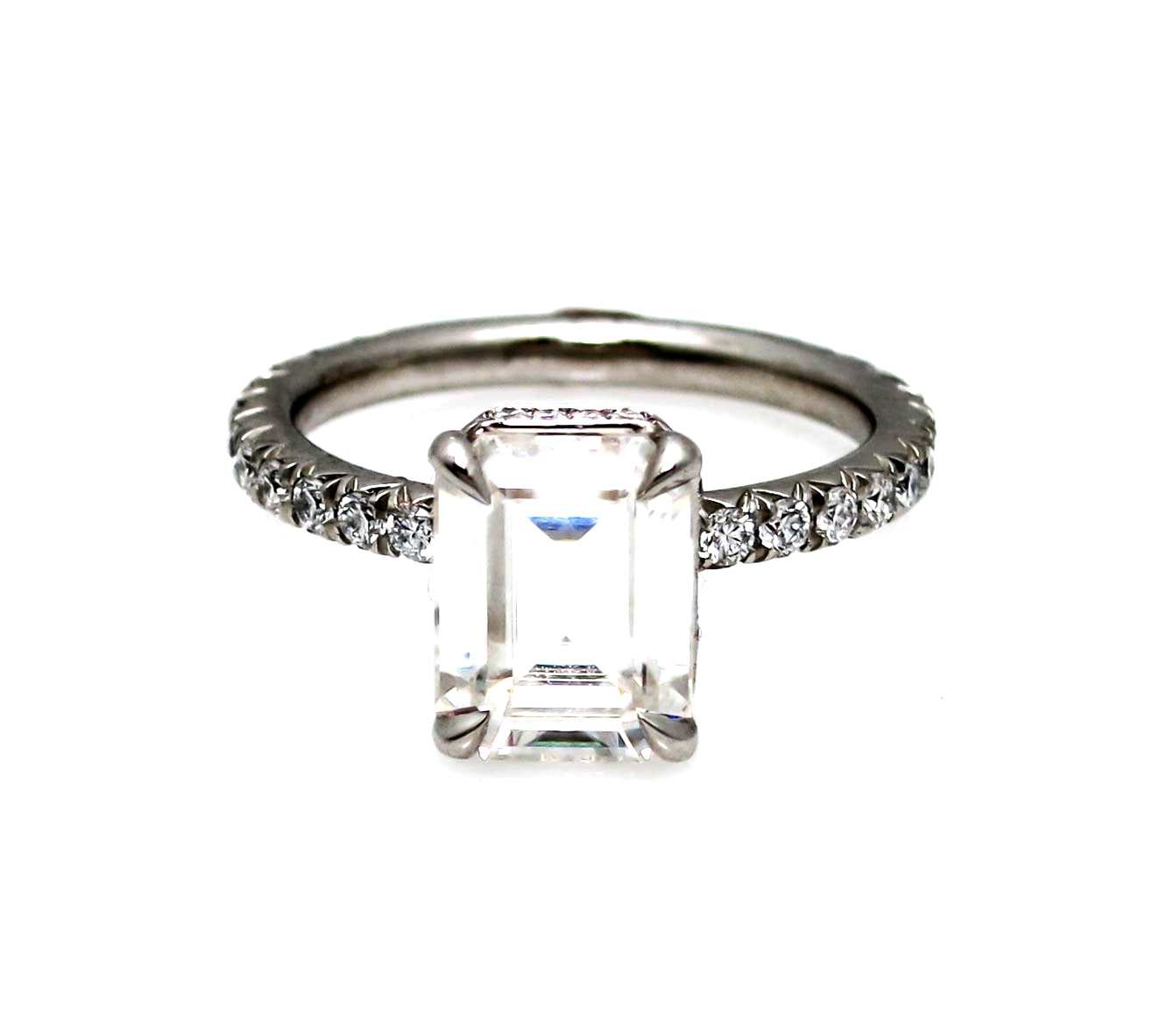 Moissanite Engagement Ring, 8x6 mm (2 Carat) Emerald Cut Forever One Moissanite & .50 Carat Diamond, Anniversary - F1VJS001