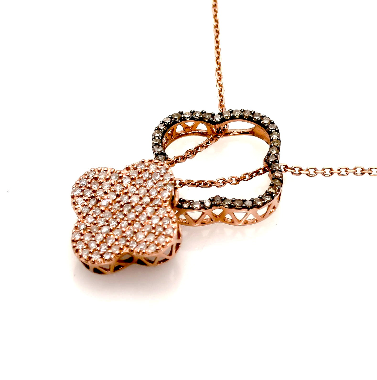 14k Rose Gold White & Chocolate Diamond Clover Necklace/Pendant - DPC001